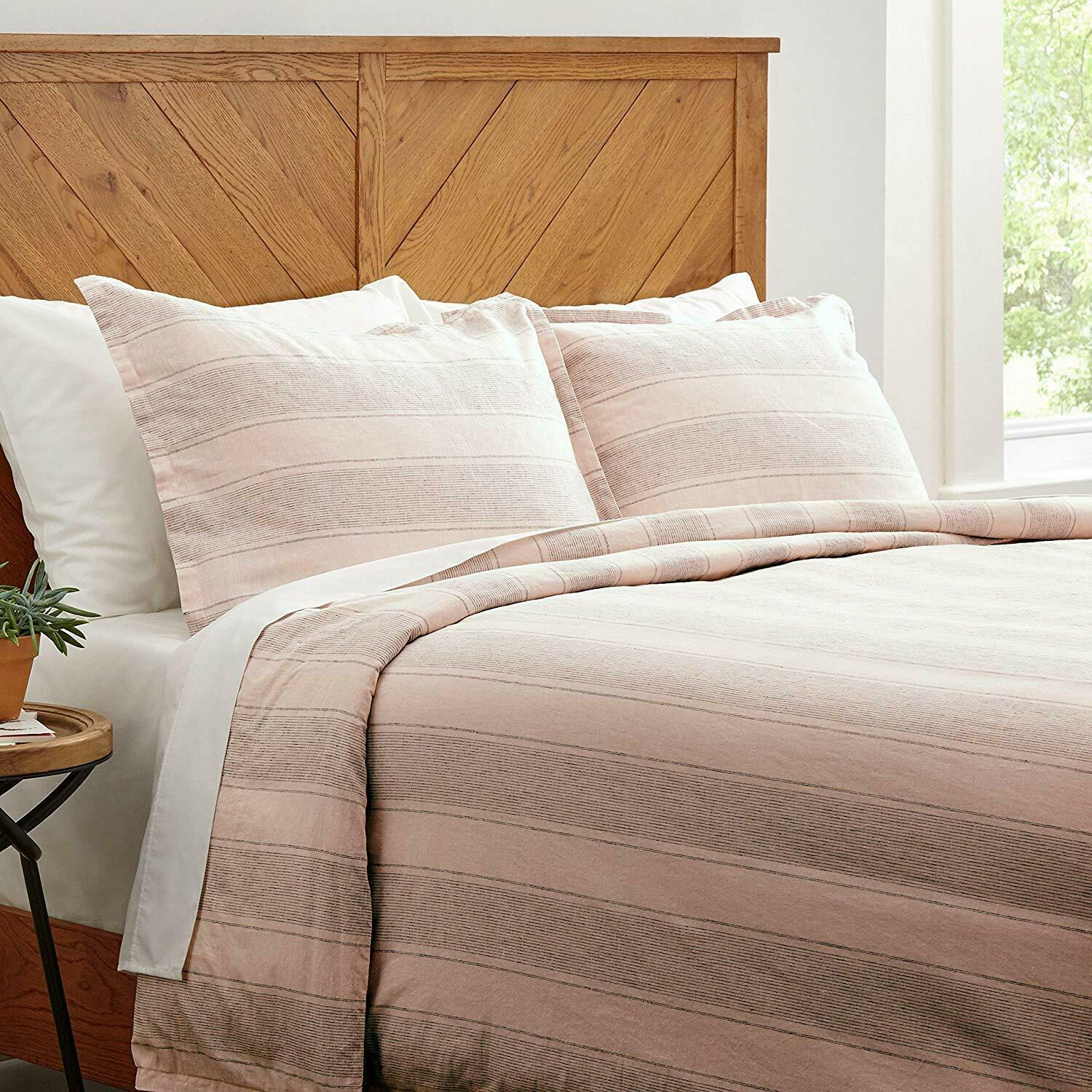 Stone & Beam Washed Linen Stripe Duvet Cover Set, Blush   blu Stripes King