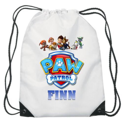 Paw Patrol Logo Drawstring Swimming School PE Bag For Girls Personalised