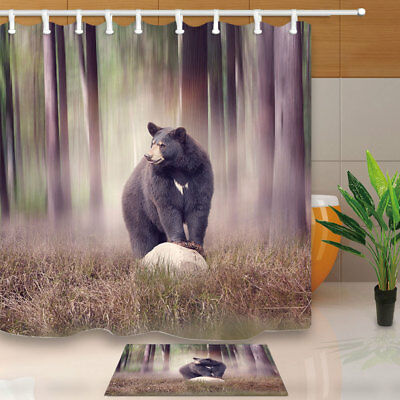 71inch Bathroom Decor Waterproof Fabric Shower Curtain Bath Mat Set Wolf Design