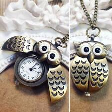 Collana Orologio Gufo Bronzo Watch Hipster Vintage Cute Owl Ciondolo Locket Ali