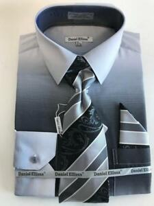 b9d88fbb7a00 Men's Daniel Ellissa Black/Silver Two Tone Shaded Dress Shirt Reg ...