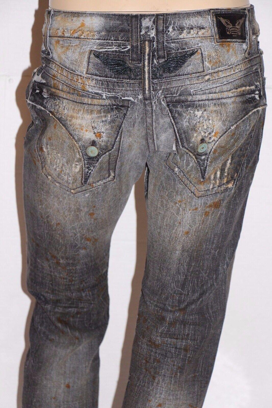 Neu Herren ROTKEHLCHEN Jeans Sz 32  BD5696 Lang Überschlag Knisternde Gerade