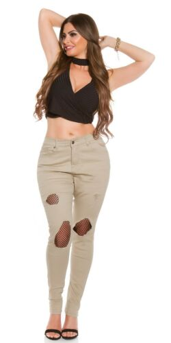 Curvy Girls Damen Jeanshose Skinny Jeans Used Look mit Netz