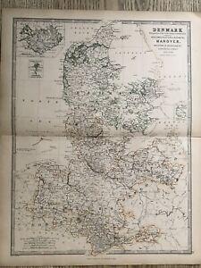 1869 Denmark North Germany Original Hand Coloured Antique Map By Johnston Ebay