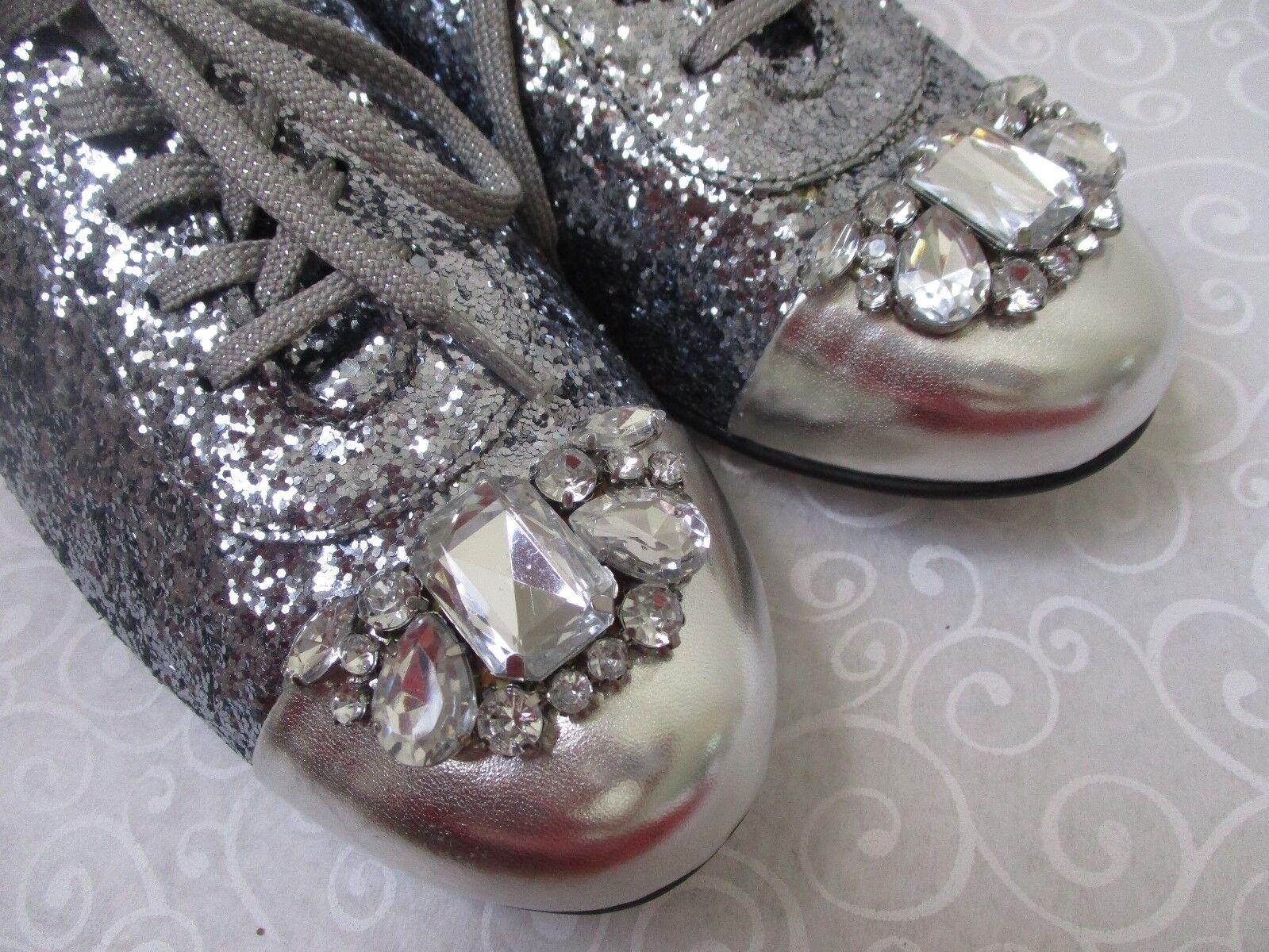 JOAN BOYCE DENISE PEWTER GLITTER & SILVER JEWELED FLATS Schuhe Schuhe Schuhe SIZE 8 W - NEW 3a82f0