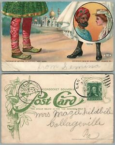 FOOTWEAR-OF-NATIONS-INDIA-ANTIQUE-1906-UNDIVIDED-POSTCARD-Woonsocket-Rubber-Co