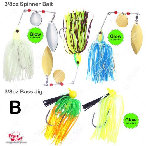 FishWOW 1//4oz 1//2oz 3//8oz Spinner Buzzbait Bass football jig Freshwater lure lot