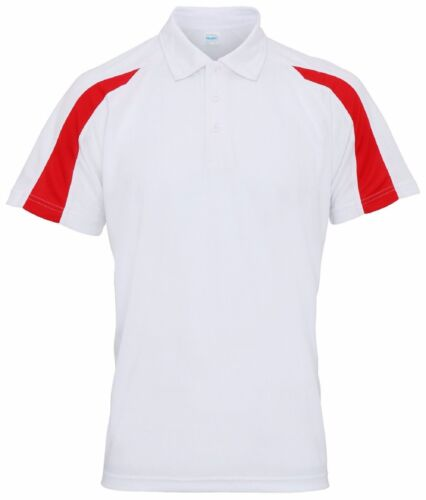 Men/'s Contrast Cool Polo Shirt Breathable Wickable Gym Training Running Sports
