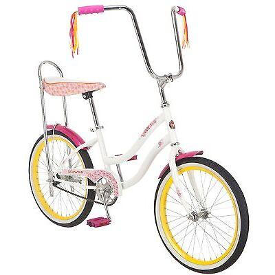 Schwinn Girl's 20-Inch Spirit Banana Seat Polo Bike, White