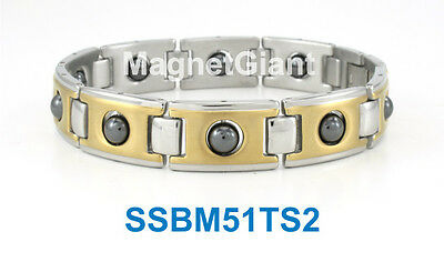 SSBM2T Gold and Silver Men/'s magnetic stainless steel link bracelet 5000 Gauss