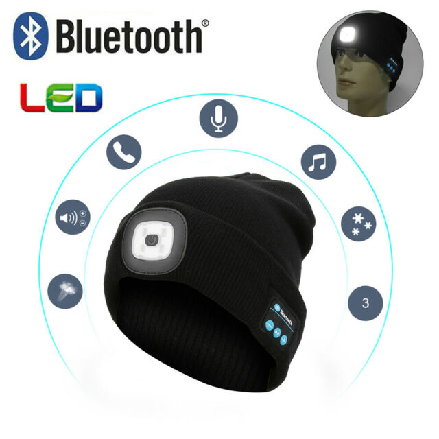 Wireless Bluetooth Knitted Beanie Hat Headphone Cap LED Light USB Charging Gifts