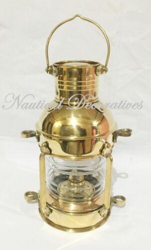 "Brass Anchor Oil Lamp ~ Nautical Maritime Ship Lantern 10/"" Wall Hanging Decor"