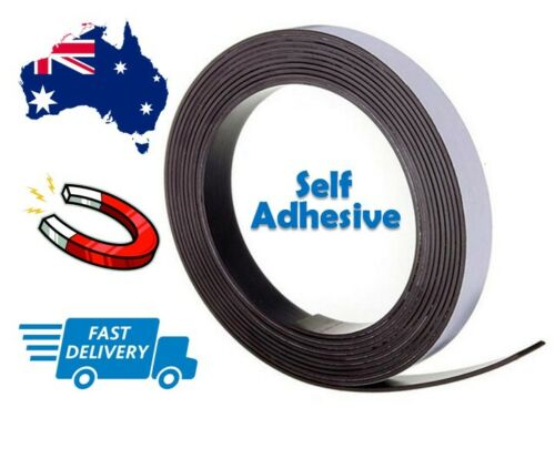 55mm x 1M Wide Flexible Self Adhesive Magnetic Rubber Tape Magnet Strip Glue New