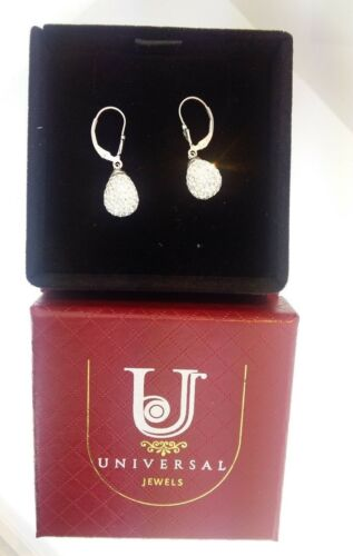 Sterling Silver Crystal Disco Ball Oval Dangle Drop Earrings