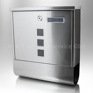 Edelstahl-Design-Wand-Briefkasten-Postkasten-Postbriefkasten-Zeitungsfach-Rolle