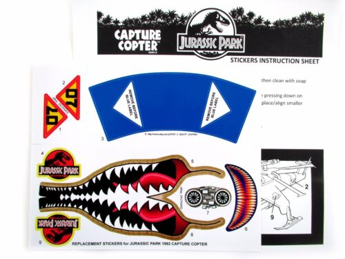 Replacement stickers for Kenner JURASSIC PARK Capture Copter Pre-cut!!