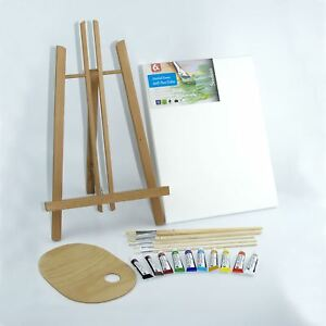 Set-500mm-20-034-Wooden-Easel-Acrylic-Oil-Watercolour-Paints-Brushes-Wooden-Palette
