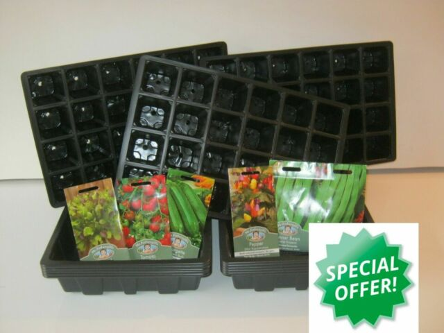 SEED STARTER KIT ( 5 x TRAYS, 5 x 40 INSERTS, 50 x 9 CM POTS) + 5 PACKS OF SEEDS