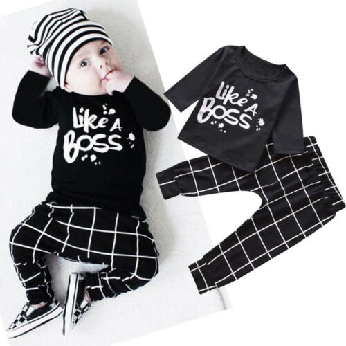 Toddler Baby Boy Outfit Letter Printed Long Sleeve T-shirt Tops Long Pants T8
