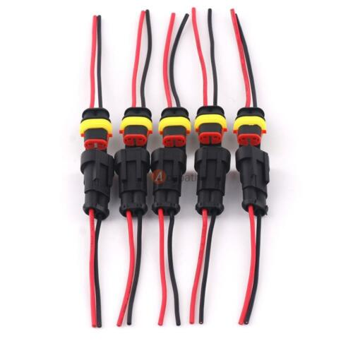 5x 2 Pin 2 Way Car Boat Waterproof Electrical Connectors Plug Wire 16 AWG Marine