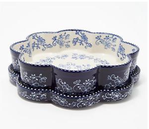 "TEMPTATIONS by Tara Floral Lace Blue 13""x9""x1/"" Baking Sheet Pan Tab Handles"