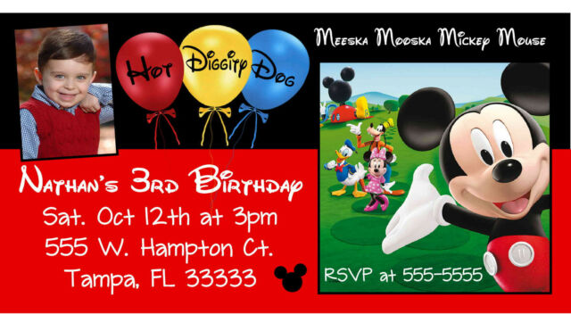 10 MAGNETIC Mickey Mouse Clubhouse Birthday Invitations Personalized MAGNETS