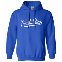 Puerto Rico Script Tail Hoodie - Hooded Baseball Sports Sweatshirt W/ All Colors