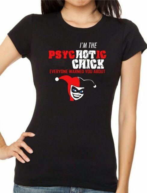 Women cut HARLEY QUINN 'I'm The PsycHOTic Girl' Cheerleader/Film version T-shirt