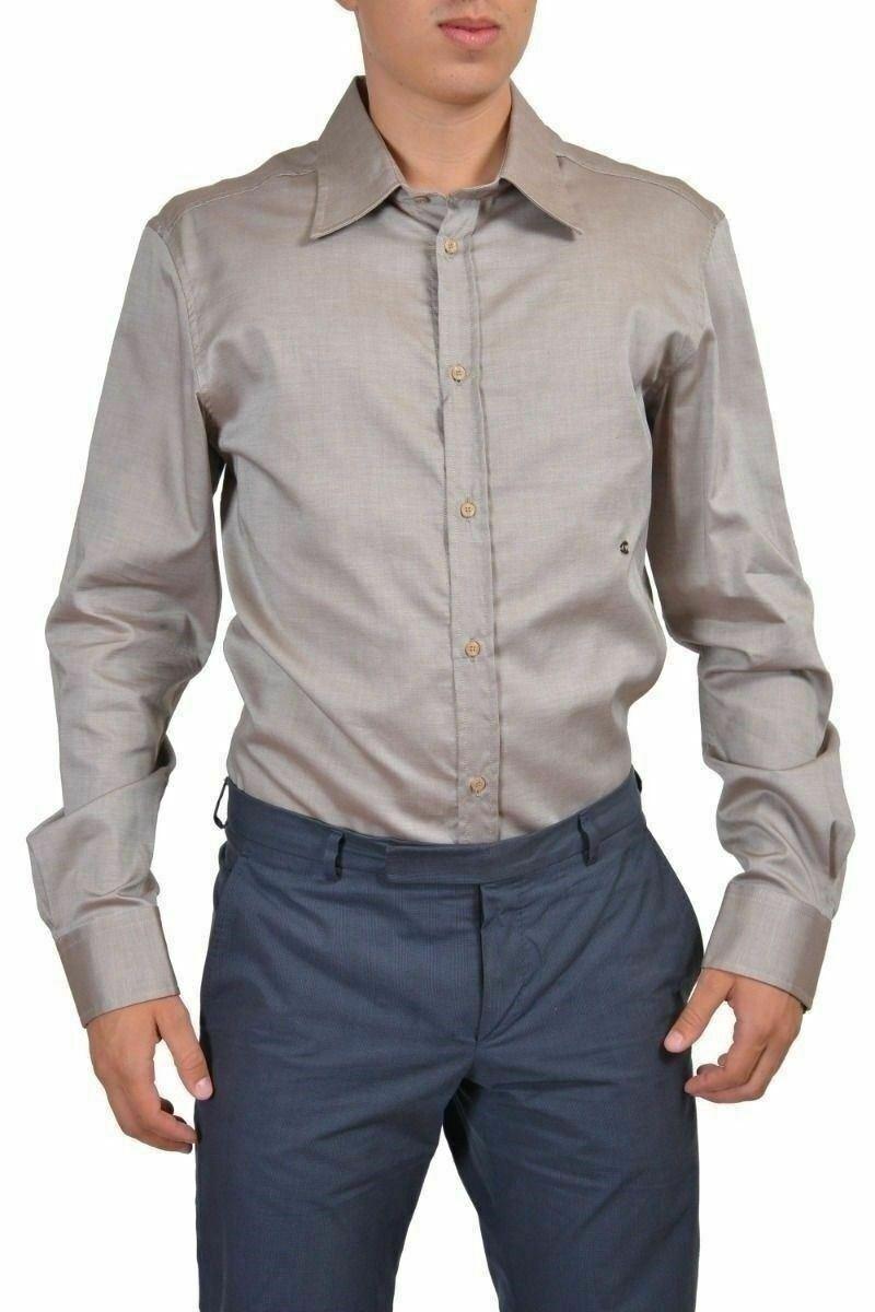 Just Cavalli Men's Beige Long Sleeve Button Down Shirt US 2XL IT 56