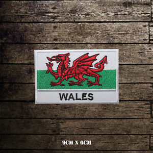 Wales National Flag With Name Embroidered Iron On Sew On Patch Badge