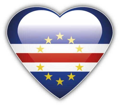 Cape Verde Flag Glossy Heart Car Bumper Sticker Decal 5/'/' x 4/'/'