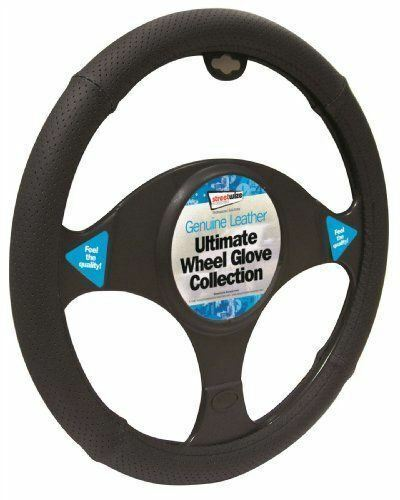 Peugeot 208 Black Genuine Leather Steering Wheel Cover Glove 37cm