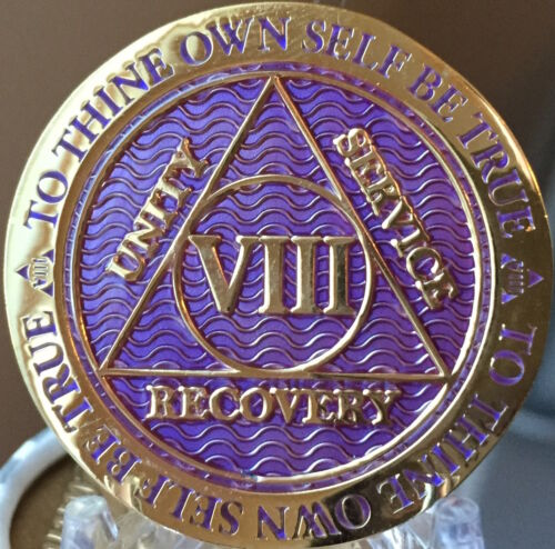 8 Year AA Medallion Purple Gold Plated Alcoholics Anonymous Sobriety Chip Coin
