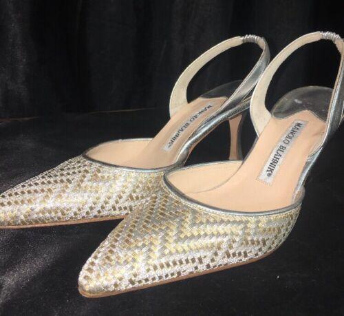Manolo Blahnik Shoe Woven Gold Metallic Sling Size