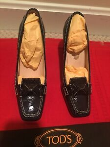 TOD-039-S-Italy-Black-Patent-Leather-Swing-Selleria-High-Heel-Pump-Loafer-Woman-6-5