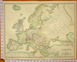 1899 Large Antique Map Europe British Isles Spain Italy Greece