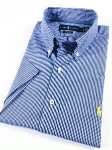 RALPH-LAUREN-Chemise-homme-a-manches-courtes-bleu-POPELINE-vichy-Mini-Carreaux-classic-fit