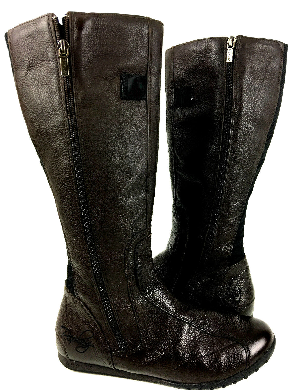 Replay Double Side Zipper Brown Knee high Leather Boots Boots Boots Size 9.5 USA. EUR.40 5db7f6
