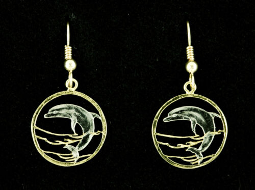 """Dolphin Earrings 5//8/"""" dia.Gold Filled Wires Hand cut Russian Coins # 505BE"""