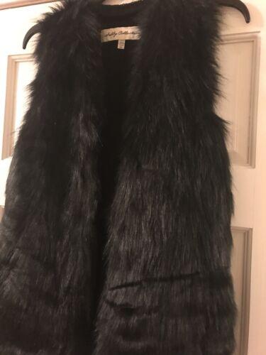 New Sebby Collection Fashion Black Vest Faux Fur Size S//P