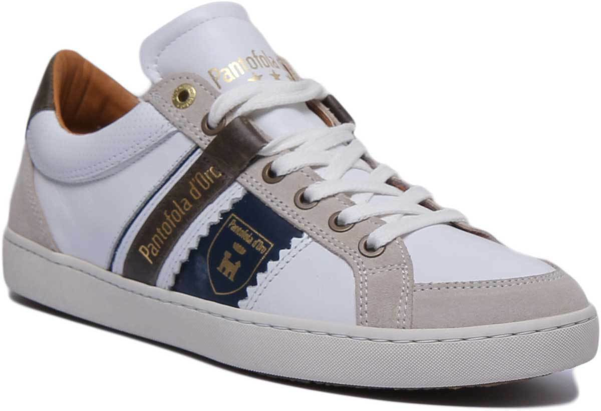 Pantofola d'gold Savio men Men Leather White Low Top Trainers UK Size 6 - 12