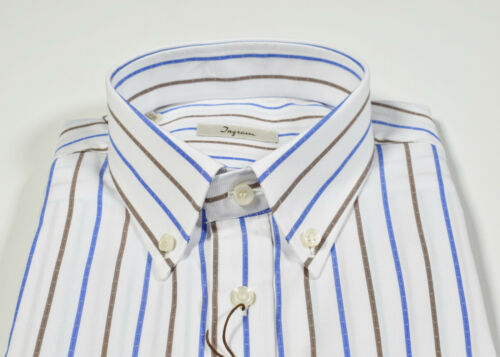 E Button Marrone Down Azzurro Taschino Con Camicia Collo A Righe Cotone Ingram vwFqnp1