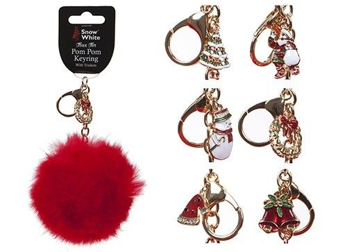 2 x Red Faux 10cm Fur Elf Pom Pom Keyring With Christmas Charm Xmas
