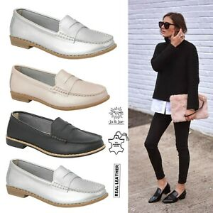 Ladies-Slip-on-Leather-Loafer-Flats-Womens-Moccasins-Office-Work-Comfort-Shoes