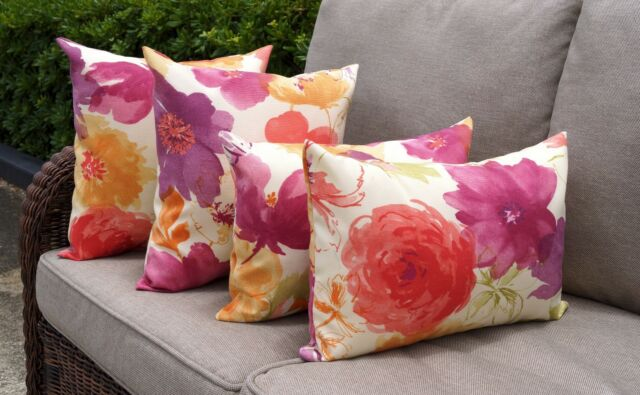 Floral Outdoor Pillows, Raspberry Orange Kiwi Purple Orchid Cream Pillows 4 Pk