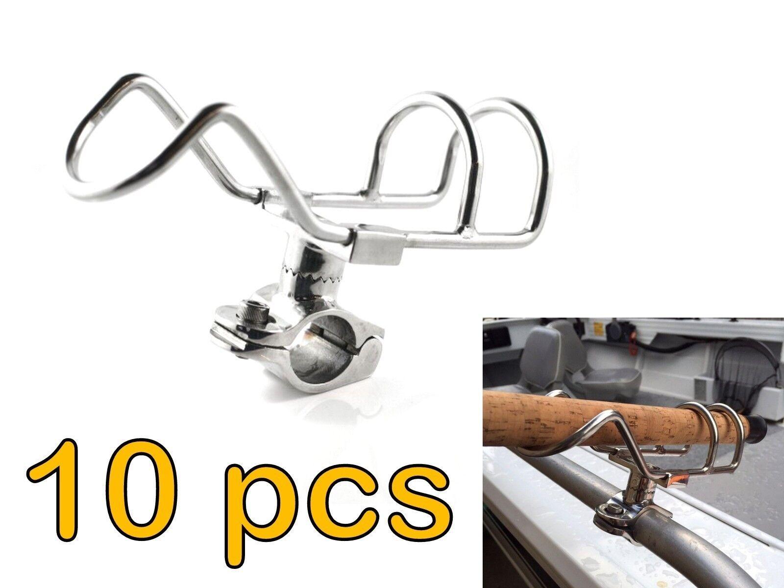 10x STAINLESS STEEL 25mm ROD HOLDER RAIL  MOUNT FISHING BOAT 360 DEG ADJUSTABLE  world famous sale online