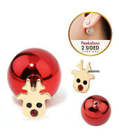 Rudolph Red Nose Reindeer Front & Back Double Sided Red Crystal Earrings