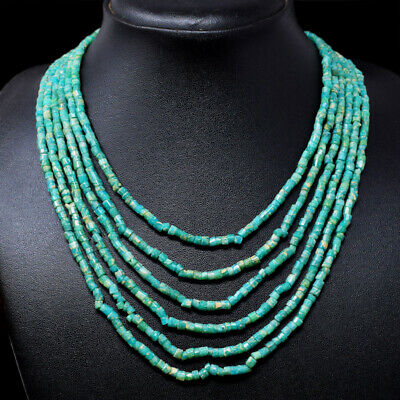Gemstone Useful 295.00 Cts Earth Mined 6 Strand Amazonite Untreated Beads Necklace Nk 15e74 Catalogues Will Be Sent Upon Request