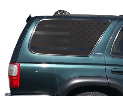 Both Sides 2003-2009 Precut American Flag Window Decals XPLORE OFFROAD 4th Gen Toyota 4Runner Matte Black American Vinyl for Rear Side Windows