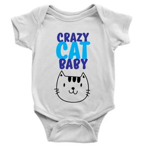 Crazy Cat Baby Babygrow Cute Kitten Funny Sweet Present New Baby Body Suit